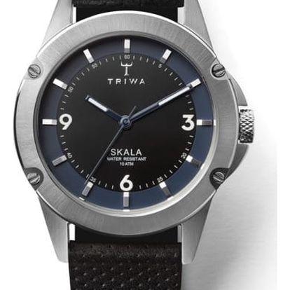 Dámské hodinky s černým koženým řemínkem Triwa Raven Skala - doprava zdarma!