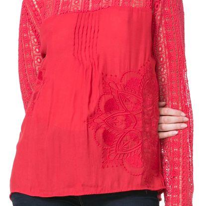 Desigual červená košile Irea s krajkou - S