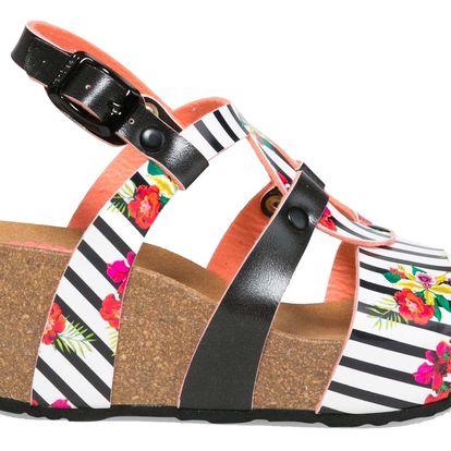 Desigual pruhované boty na klínku Bio9 Flores & Rayas - 39