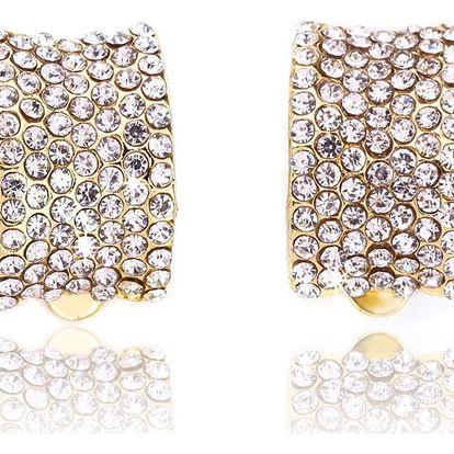 Fashion Icon Náušnice půlkroužky s krystaly klipsy