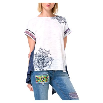 Desigual šedo-modré asymetrické tričko Creta - L