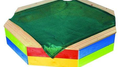 T-WOOD Pískoviště dřevěné osmihranné s ochrannou sítí barevné