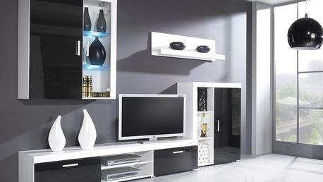 RTV stolek SAMBA, bílá matná/černý lesk