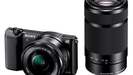 Sony Alpha A5100, 16-50mm + 55 -210 mm , Black (ILCE5100YB.CEC) + brašna Vanguard jako dárek