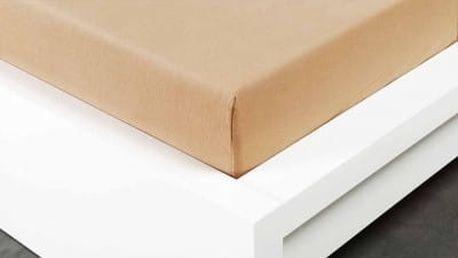 XPOSE ® Jersey prostěradlo Exclusive dvoulůžko - béžová 160x200 cm