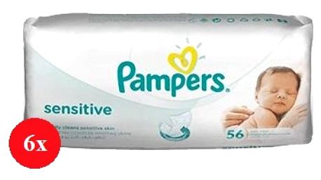 Pampers baby wipes sensitive 6 x 56 kusů