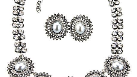 Fashion Icon Sada náhrdelník a náušnice vintage s perlou