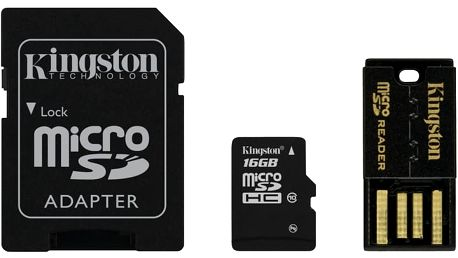 Kingston Micro SDHC 16GB Class 10 + SD adaptér + USB čtečka - MBLY10G2/16GB