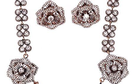 Fashion Icon Sada náušnice a náhrdelník vintage růže