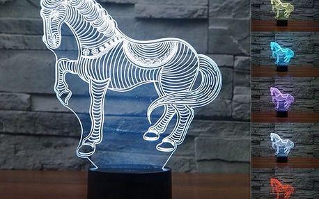 LED lampa s 3D efektem - tvar koně