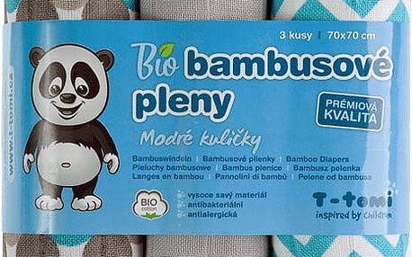 T-TOMI Bambusové BIO pleny, sada 3 ks, modré kuličky