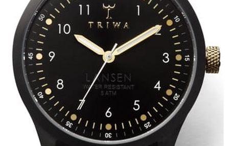 Unisex hodinky s černým koženým řemínkem Triwa Midnight Lansen - doprava zdarma!
