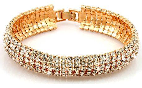 Fashion Icon Náramek zlatý štrasový šestiřadý