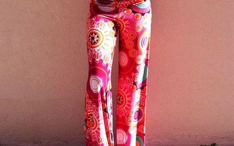 Kalhoty s květinovými ornamenty - velikost L