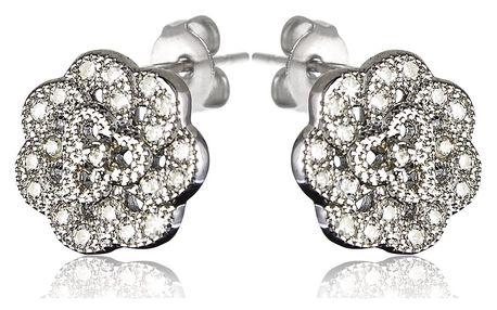 Fashion Icon Náušnice Silver Flower rhodiované se zirkony