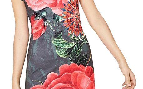 Desigual khaki šaty Sharyky s růžemi - S