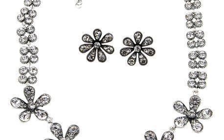 Fashion Icon Sada květinová náušnice a náhrdelník ve vintage stylu