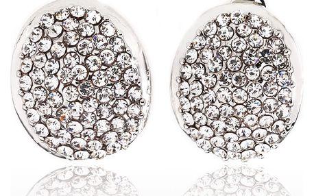 Fashion Icon Náušnice oválné klipsy s krystaly