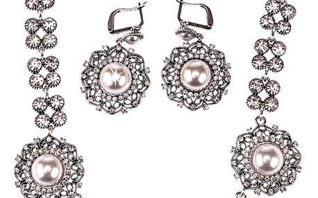 Fashion Icon Sada náhrdelník a náušnice medailonek s perlou