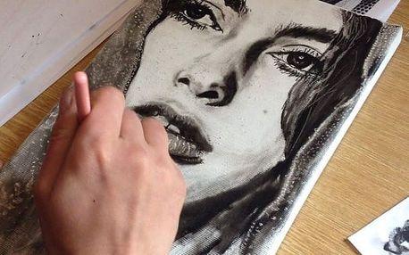 Kreslení pravou mozkovou hemisférou: tužka, bílá kresba + malba suchým štětcem