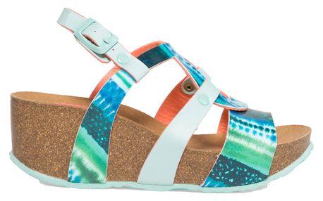Desigual tyrkysové sandály na klínku Bio9 Blue Aquarella - 36