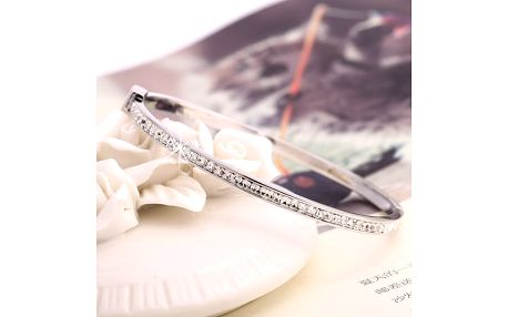 Fashion Icon Náramek rhodivaný povrh osázený zirkony zirkon zirkon elegantní s kamínkem 0512