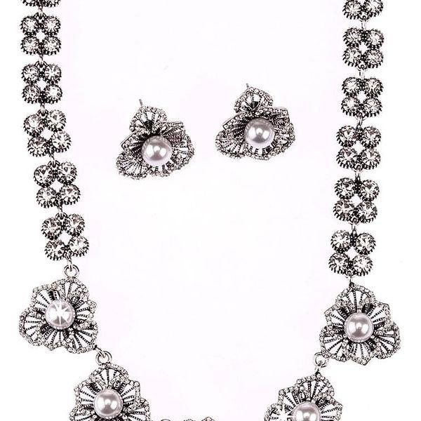 Fashion Icon Sada náhrdelník a náušnice drobná květina