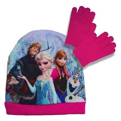 Souprava čepice a rukavice Frozen - růžová