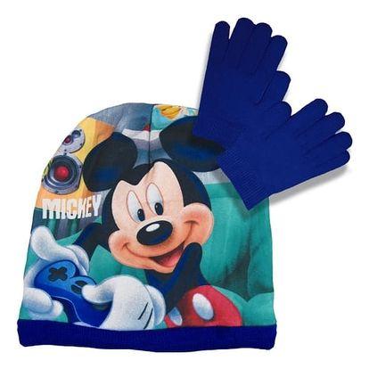 Souprava čepice a rukavice Mickey Mouse - modrá