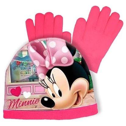 Souprava čepice a rukavice Minnie Mouse - tmavě růžová