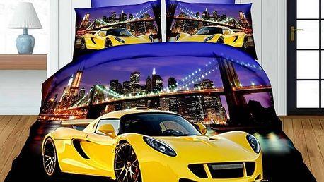 Povlečení 3D YELLOW CAR set 4 ks, francouzské povlečení, 1x 200x220 cm, 2x 70x80 cm, prostěradlo 200