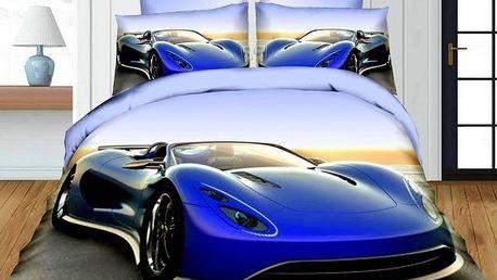 Povlečení 3D BLUE CAR 01 set 4 ks, francouzské povlečení, 1x 200x220 cm, 2x 70x80 cm, prostěradlo 20
