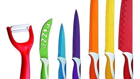 Sada 6 barevných nožů se škrabkou
