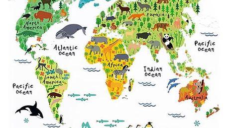 Dětský plakát mapy světa se samolepkami světadílů a zvířátek