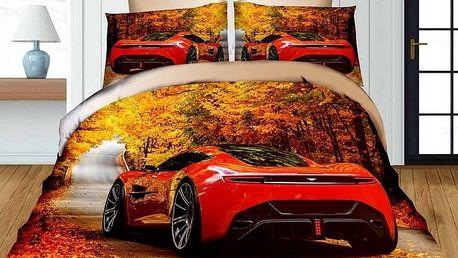 Povlečení 3D RED CAR set 4 ks, francouzské povlečení, 1x 200x220 cm, 2x 70x80 cm, prostěradlo 200x22