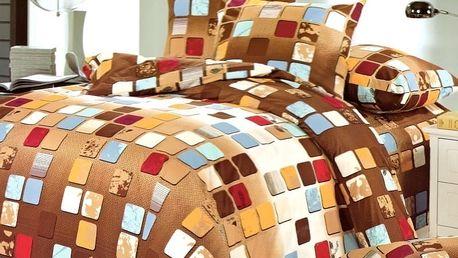 Povlečení BAREVNÉ KOSTKY set 3 ks, 140x200 cm - 160x200 cm, 2x povlak 70x80 cm MyBestHome Rozměr: 160x200 cm