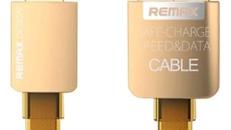 Remax datový kabel s lightning konektorem pro iPhone, gumový, zlatá - AA-1081