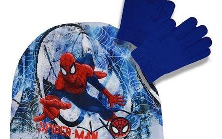 Souprava čepice a rukavice Spiderman - modrá