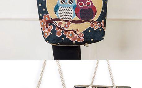 Fashion Icon taška ALWAYS LOVE YOU se sovičkami lněná
