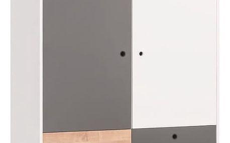 Bílo-šedá třídveřová šatní skříň se dřevěným detailem Vox Concept - doprava zdarma!
