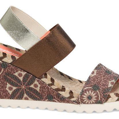 Desigual hnědé sandály na klínku Ibiza Sofisafari - 41