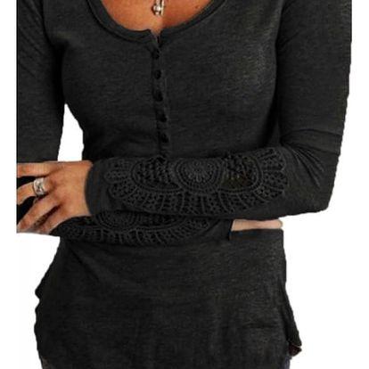 Tričko s krajkovými rukávy - černá, velikost 5