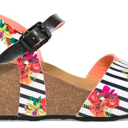 Desigual pruhované boty na klínku Bio7 Flores & Rayas - 37
