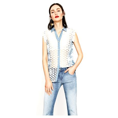 Desigual denimová košile Laia s výšivkami - XXL