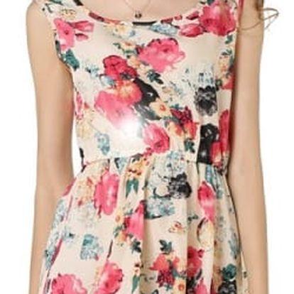 Letní šatičky s květy - růžová, velikost 3