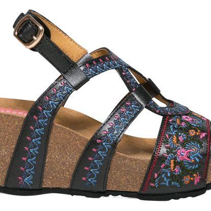 Desigual černé sandály na klínku Bio9 Anissa White Flower - 41