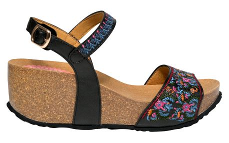 Desigual černé boty na klínku White Flowers - 38