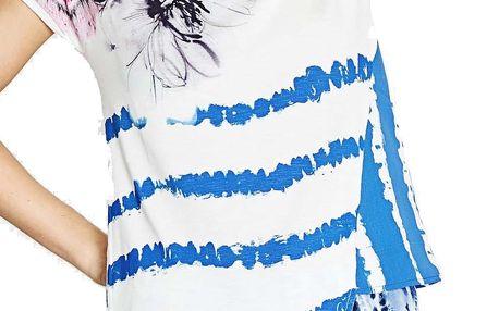 Desigual bílé triko Cellia s modrými pruhy - L
