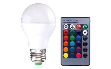 Stmívatelná RGB LED žárovka s ovladačem - E27/B22