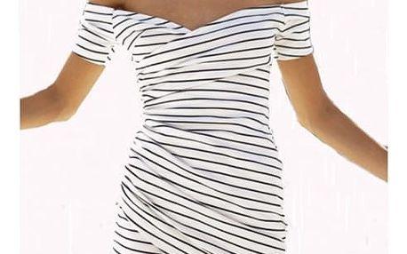 Proužkované dámské šaty v černobílé barvě - velikost M